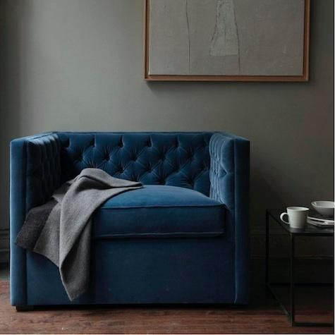 Gasp! I could never have this blue velvet chair in my house - I'd never leave it!