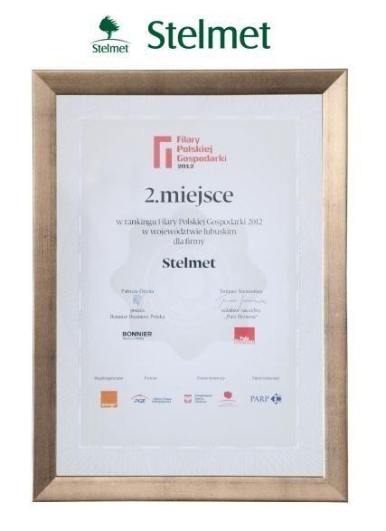 2 miejsce w rankingu Filary Polskiej Gospodarki 2012 w województwie lubuskim dla firmy STELMET.