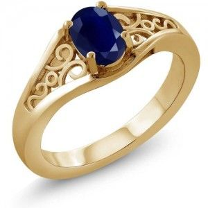 7. 1.02 Ct Oval Blue Sapphire 925 Yellow Gold Plated Silver Ring