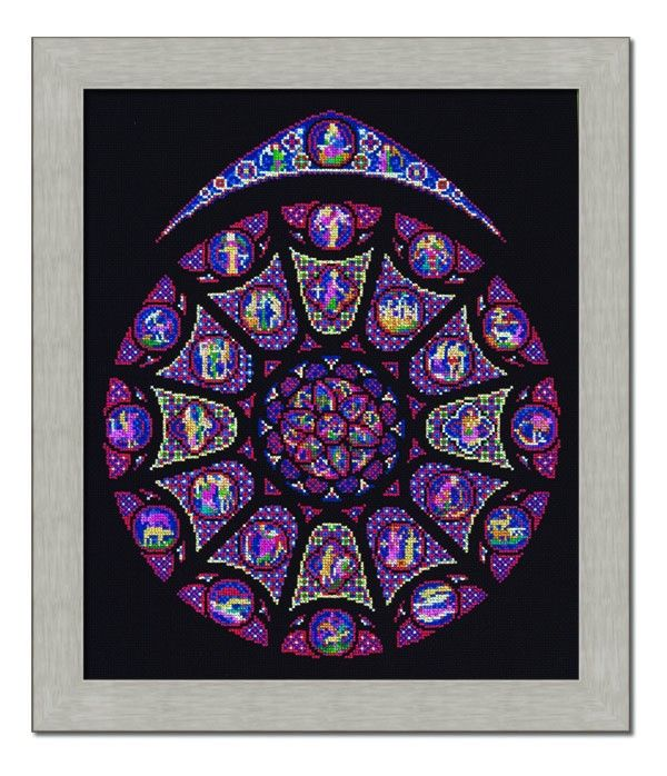 32 best stained glass cross stitch images on pinterest for Rose window design