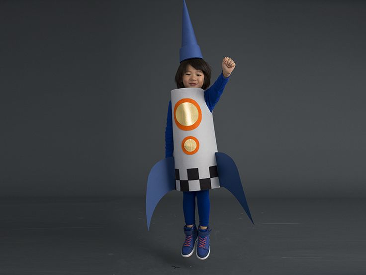 How to make a rocket costume that'll change into a crayon costume with a few tweaks. #Halloween #Costume