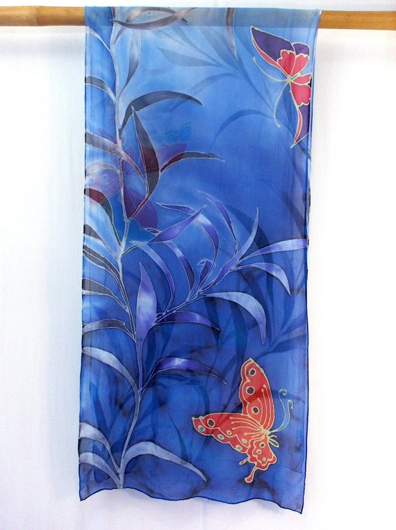 Hand Painted Silk Scarf Floral. Luxury Silk Scarf Japanese. Royal Blue Butterflies. Blue Silk Scarf. Chiffon. 19x78 in. Made to order.. $295.00, via Etsy.
