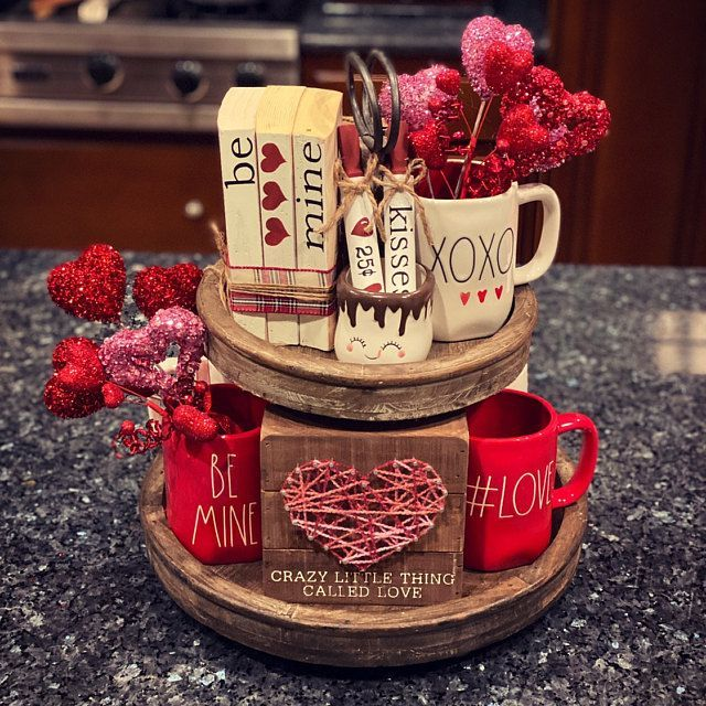 Valentines Day Decor Kitchen Sign Vintage White Wood Tag Sign Tiered Tray Decor Farmhouse Sign