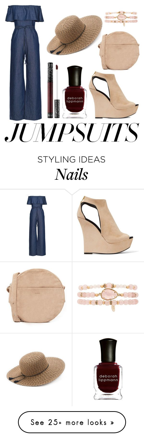 """157 #Jumpsuits"" by silverfoxx99 on Polyvore featuring WithChic, Kat Von D, Deborah Lippmann, Balmain, SONOMA Goods for Life, BAGGU, Ettika and jumpsuits"