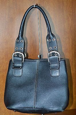 Tignanello-Black-Leather-Purse-Handbag-Silver-Hardware