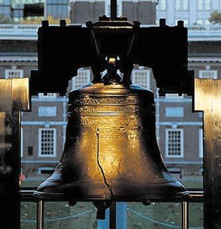 The Liberty Bell in front of Independence Hall in  Philadelphia, Pennsylvania