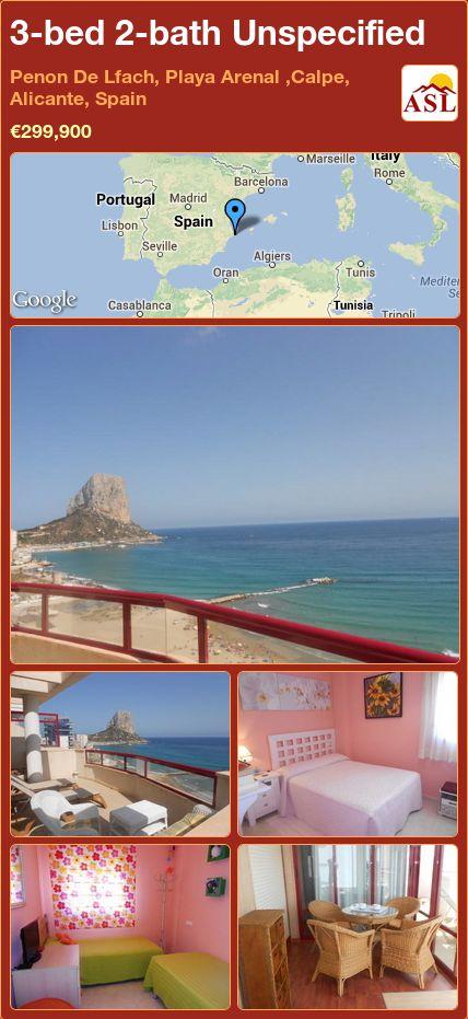 3-bed 2-bath Unspecified in Penon De Lfach, Playa Arenal ,Calpe, Alicante, Spain ►€299,900 #PropertyForSaleInSpain