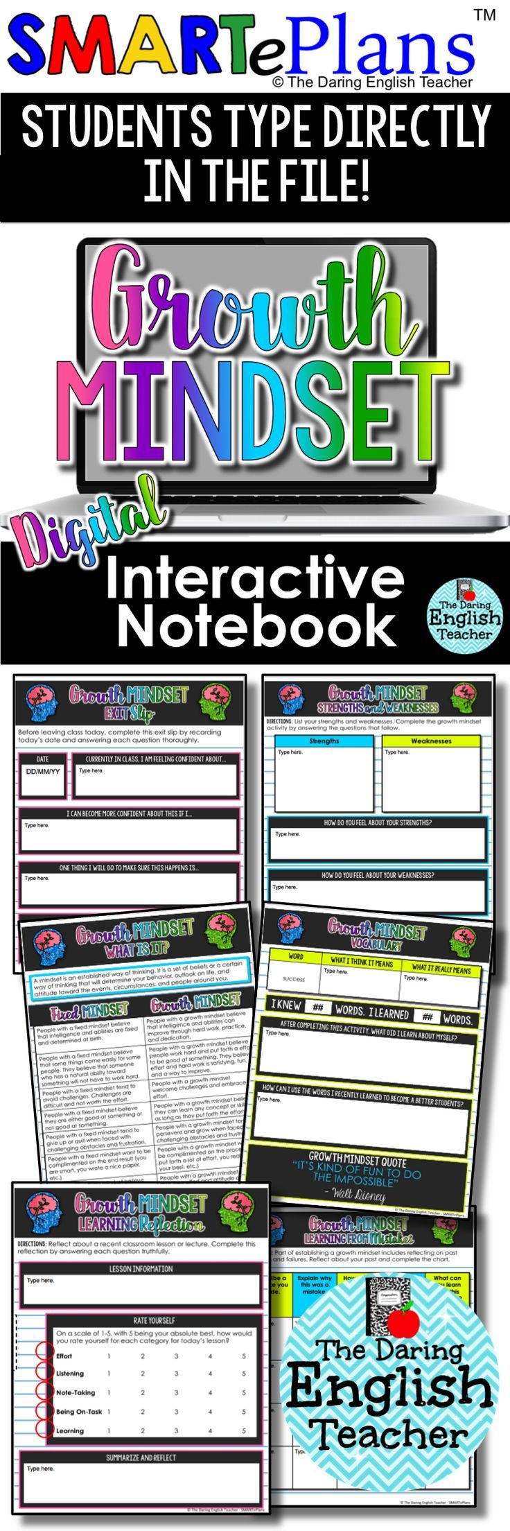 Growth Mindset Digital Interactive Notebook for the Secondary Classroom. Includes digital growth mindset activities, writing assignments, reflection forms, exit slips, and more. Ideal for the secondary classroom.