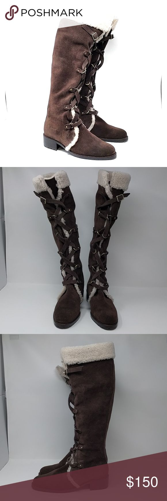 """Delman 7.5 Suede Shearling Tall Boots NEW Delman Strut Lace-Up Suede Boot, 7.5 Dark Brown NEW w/o box msrp $495  Clearance shoes from Nordstrom Rack have been tried on but not worn.  Please examine photos for condition.   - Round toe  - Suede construction - Genuine shearling trimmed - Lacing detail - Partial side zip closure - Lightly padded insole - Stacked heel - Lug sole - Approx. 17.5"""" shaft height, 17.5"""" opening circumference - Approx. 1.5"""" heel  - Materials: Suede/genuine shearling…"""