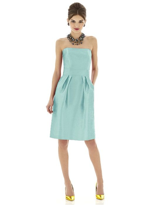 Cocktail length strapless dupioni dress with shaped inset midriff and pleated skirt. Pockets at side seams of skirt.   http://www.dessy.com/dresses/bridesmaid/d614/