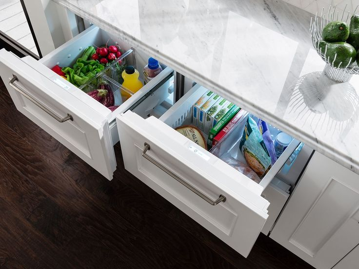 A traditional refrigerator takes up a lot of space in the kitchen, space that could otherwise be used as extra storage or as a place to house additional appliances. If that extra space is needed when designing or remodeling a kitchen, undercounter refrigerator and freezer drawers like these @subzeroandwolf panel ready drawers, are a great alternative to the traditional refrigerator. It's an option that is both functional and stylish!
