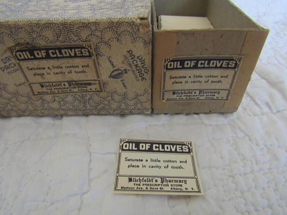 Vintage Pharmacy Labels Oil of Cloves Dental Remedy 2/3 of box