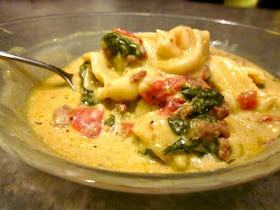 THE BEST Crockpot meal I've tried yet:  Ingredients: 1 bag of frozen tortellini, 1 small bag of fresh spinach, 2 cans of Italian style diced tomatoes, 1 box or 4 cups of vegetable broth, 1 block of cream cheese; put all ingredients in crockpot, chunking up the cream cheese; cook on low for 5-6 hrs.