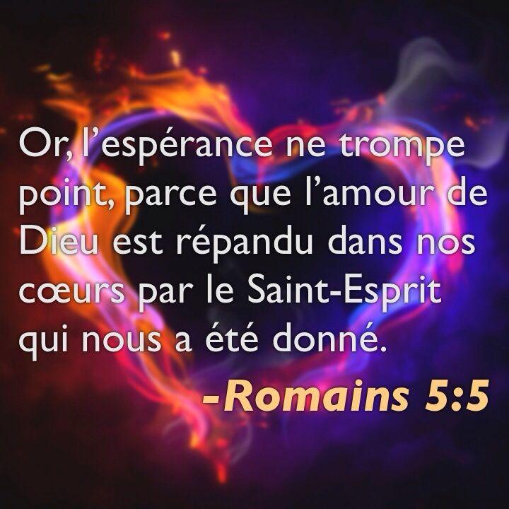 La Bible - Versets illustrés - Romains 5:5 - Or l'espérance ne trompe point, parce que l'amour de Dieu est répandu dans nos coeur par le Saint-Esprit qui nous a été donné.