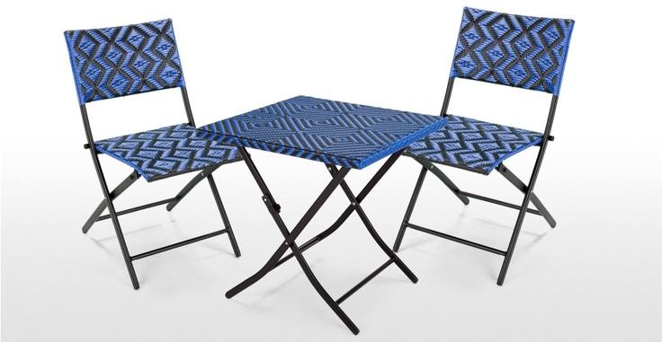 Mali Bistro Set in tropic blue | MADE.COM