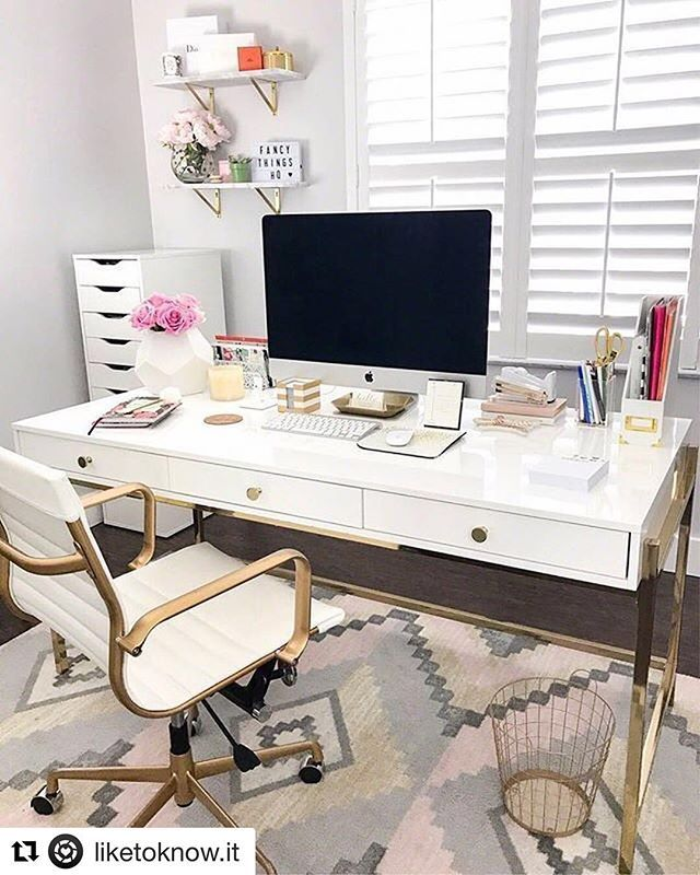 A home-office space a perfect retreat to get your creative juices flowing. #inspire #Repost @liketoknow.it (@get_repost)  Get your at-home office ready for the work week care of @fancythingsblog's girly glam details | Shop the #LTKhome details instantly when you download the LIKEtoKNOW.it app (link in bio!) | http://liketk.it/2unqb #liketkit #ighome #instahome #homegoals #homeinspo #decor #homedecor #interiors #interiordesign #interiorstruly #interiors2you #decorcrushing #mybhg…
