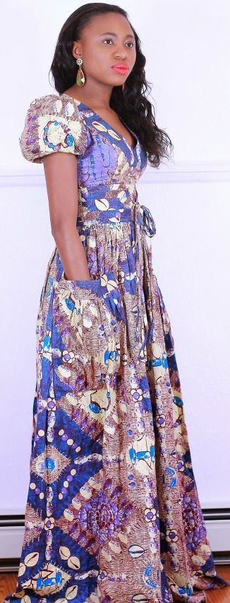 Styling a maxi ankara/kente full maxi dress >>http://www.lapassionvoutee.com/2015/01/ankara-maxi-dress-casual-flats.html