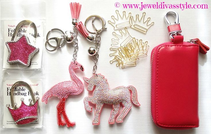 JDS - Gotta love these. Bag holders, flamingo and unicorn keyrings, crown paperclips, and a new pink key holder.