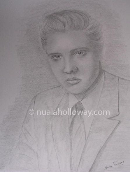 """""""Elvis' 56"""" by Nuala Holloway - Pencil on Paper (Commission)  As featured in the music biography """"Elvis and Ireland"""" by Ivor Casey -  Available to buy now on Amazon #Elvis #ElvisandIreland #IrishArtist"""