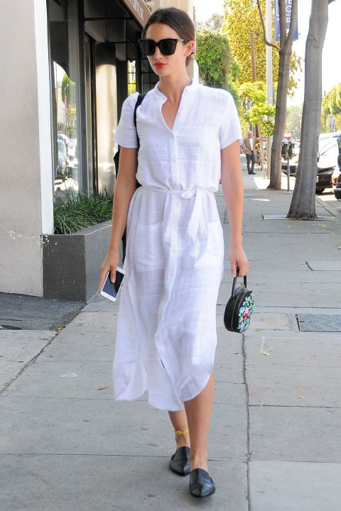 11 summer 2016 fashion trends to try: a close toed slide as seen on Lily Aldridge