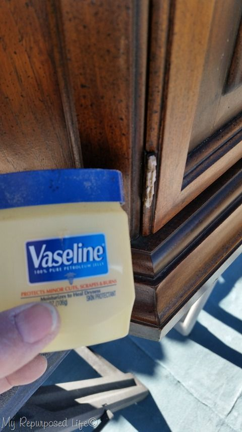 Use vaseline on hinges that you do not want to paint or to remove when refinishing furniture or painting a room. MyREpurposedLife.com