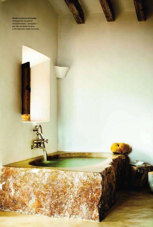 Stone soaking tub    #jeffreyalanmarks #JAM #homedecor