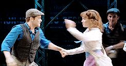 Jeremy Jordan being adorable in Newsies Live (annabethcnases on Tumblr)