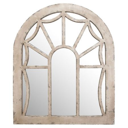 Featuring a window-inspired design, this weathered wall mirror brings rustic-chic appeal to any room.   Product: Wall mirror
