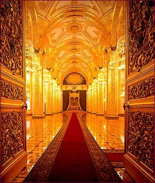 Red yellow glowing Moscow, Terem Palace, the Throne Room via tristarmedia.com