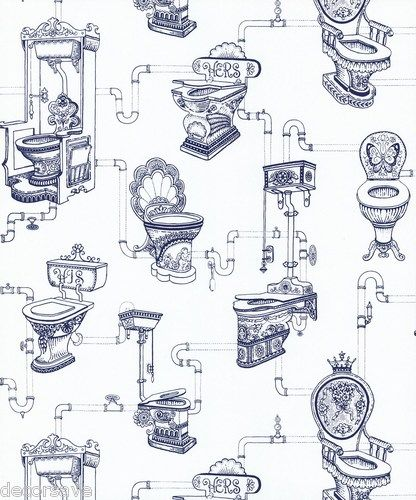 Graham & Brown Loo Loo Wallpaper 50-624. Toilet Water Closet Bathroom White Blue | eBay