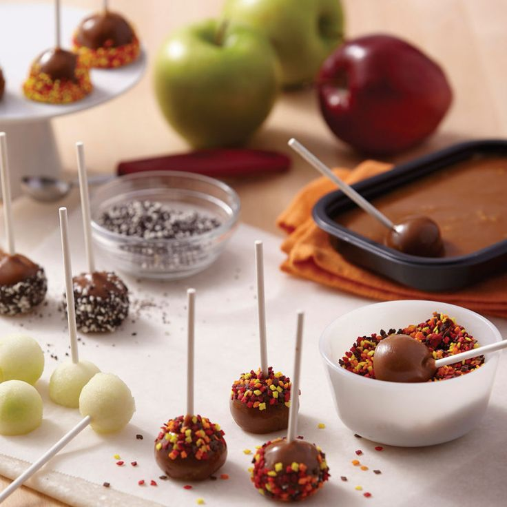 Bite-sized Mini Carmel Dipped Apple Bites are a tasty treat for fall and Halloween celebrations