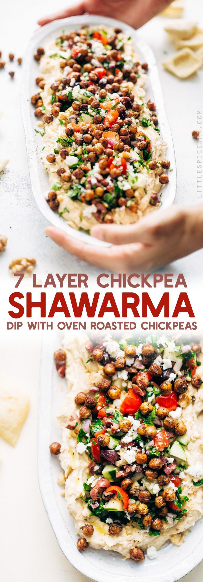 Seven Layer Chickpea Shawarma Dip - Smooth hummus topped with a parsley salad, salty feta, crunchy roasted chickpeas, and so much more! #7layerdip #sevenlayerdip #shawarma #shawarmadip #roastedchickpeas #sponsored by @californiawalnuts | Litttlespicejar.com