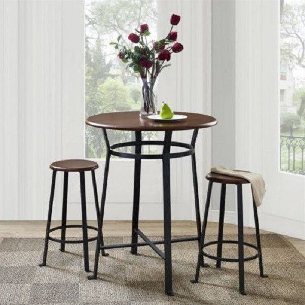 Pub Style Table Set Stools 3 Piece Kitchen Dining Round Bistro Counter Height #DorelAsia #Contemporary