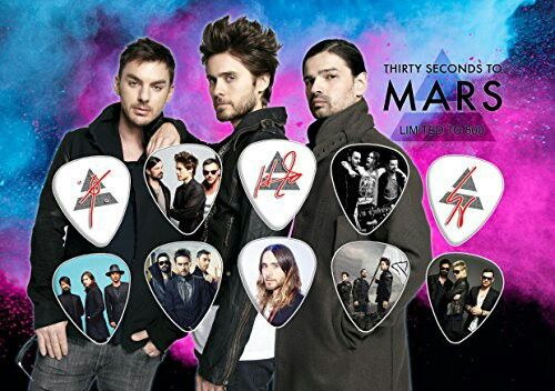 30 Seconds to Mars n Jated Leto guitar pic collection sold on Amazon for 18.00 dpllars nd 2.60 for S n H.