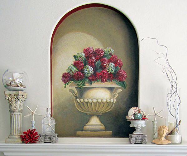 Нарисованная ваза в стенной нише