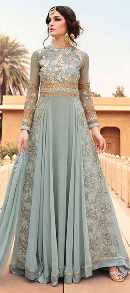 475459: Black and Grey  color family  unstitched Anarkali Suits .