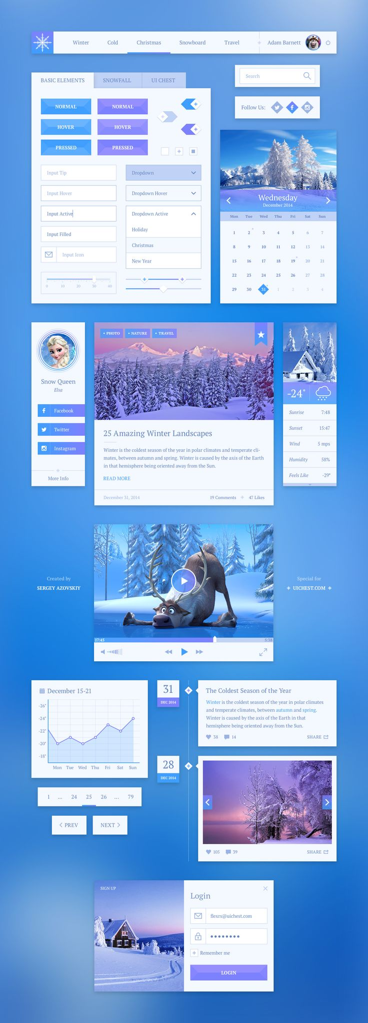 Snowflake UI Kit PSD is a simple charming winter themed UI kit. This kit includes 13 elements in PSD and adapt for your next web design project.