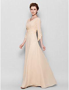Sheath / Column Plus Size / Petite Mother of the Bride Dress Floor-length 3/4 Length Sleeve Chiffon with Appliques / Criss Cross – USD $ 129.99