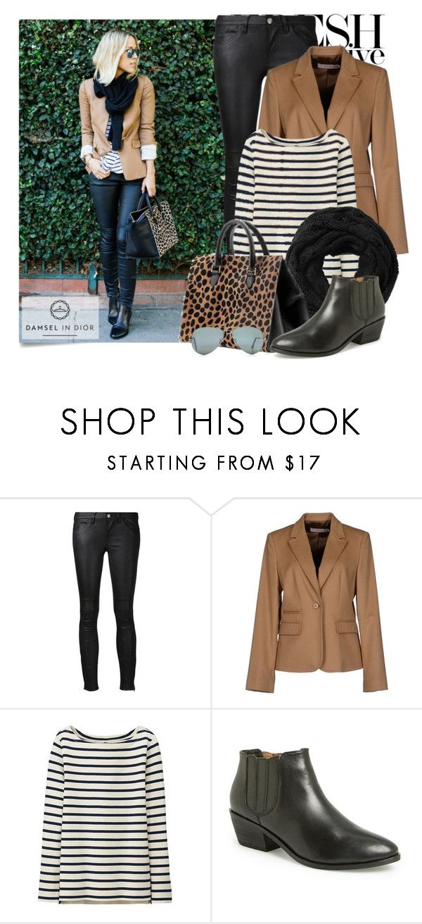 """""""damsel in dior"""" by stacy-gustin ❤ liked on Polyvore featuring Post-It, Current/Elliott, RED Valentino, Uniqlo, Subtle Luxury, Clare V., Joie, Ray-Ban, Damsel in a Dress and BloggerStyle"""