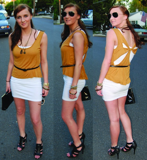 Nordstrom Store Brand White Cotton Dress, Bcbg Black Leather Heels, Kirra Cutout Mustard Tank, Madewell 1937 Nautical Necklaces