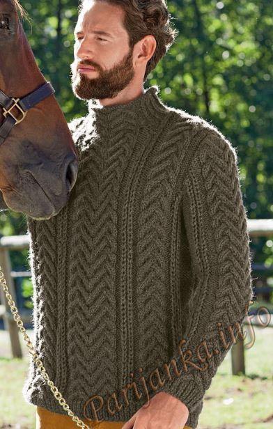Пуловер с косами (м) 852 Creations 2014/2015 Bergere de France №4288 | Вязание: Для мужчин | Постила