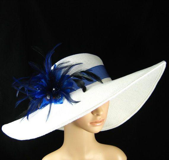 Women's White Derby Hat with Navy Blue Feather Flower Hat, Kentucky Derby Hat, Wide Brim Hat , Tea Party ,Ascot Horse