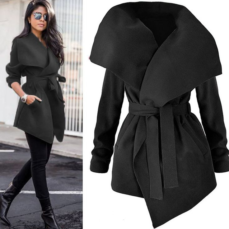 Schwarze Taschen Mit Gürtel Wasserfall Cardigan Langarm Mode Trenchcoat Dicker Oversize Mantel Damen