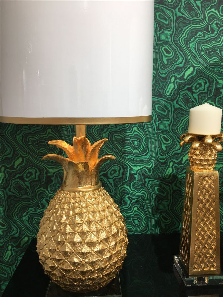 High point market couture lamps gold pineapple lamps green