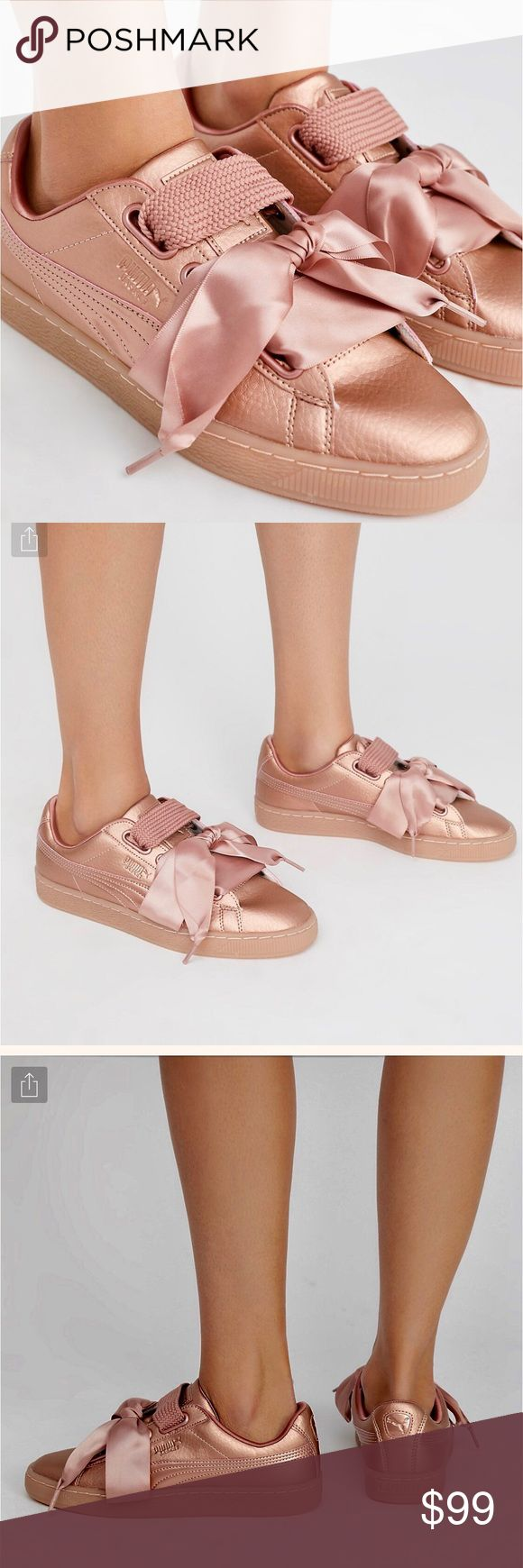 Puma Basket Heart Copper Classes Pumas in Rose Gold w cotton or ribbon 🎀 laces. Brand new in the box! Puma Shoes Sneakers