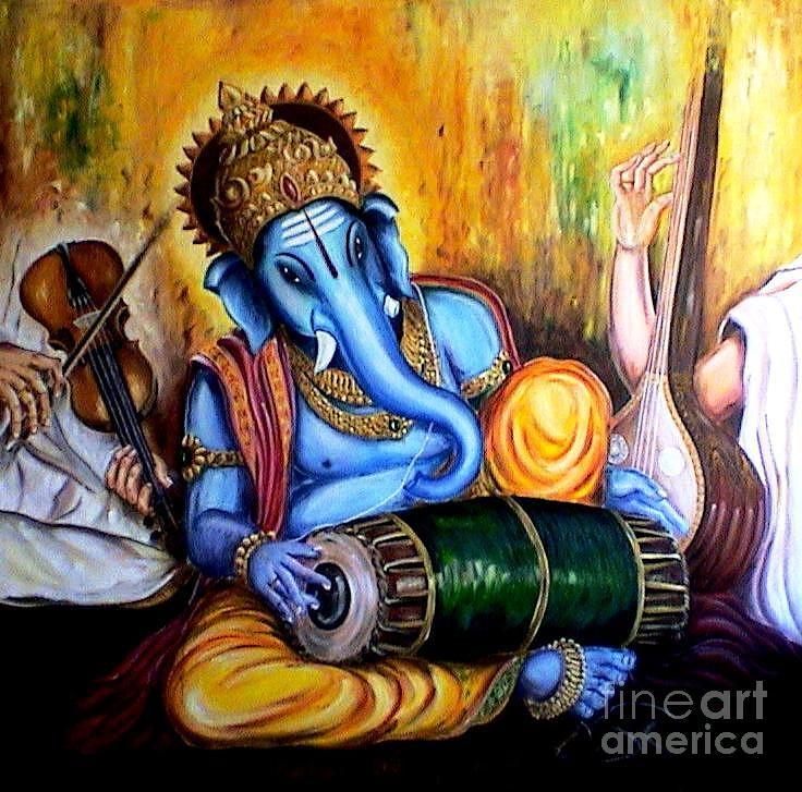 Mridanga Ganesh Painting by Murali