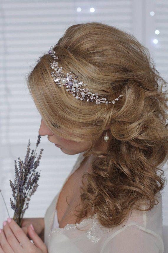 Bridal Headpiece Pearl Wedding Headband with Pearls and Crystals Bridal  Hair Vine Halo Headband Wrea 93673d4a181a