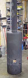 Roger Sanders Waste Oil Heater: can be used to heat greenhouse.