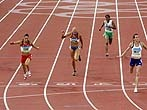 BEIJING - AUGUST 15:  (L-R) Olga Kurban of Russia, Jessica Zelinka of Canada, Tatiana Chernova of Russia, Pramila Ganapathy Gudanda of India and Kelly Sotherton of Great Britain compete in the Women's Heptathlon 200m  Final at the National Stadium on Day 7 of the Beijing 2008 Olympic Games on August 15, 2008 in Beijing, China.  (Photo by Mark Dadswell/Getty Images)
