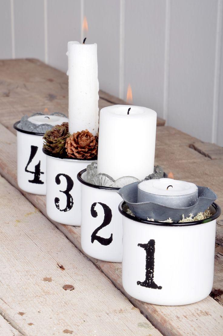 Dosen-Adventskranz ⭐️ Tin-Advent-Wreath (Dosen mit Zahlen verzieren und mit Kerzen, etc. füllen) barefootstyling.com
